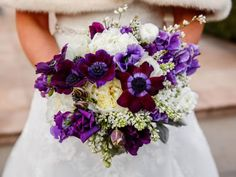 Sophisticated purple wedding bouquet. L. Marie Events, New York.