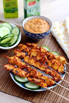 Thai Chicken Sate with Peanut Sauce – Thai chicken sate with peanut sauce. Make these at home with this easy recipe--much cheaper, delicious, and you can have as many sticks as you want! | rasamalaysia.com