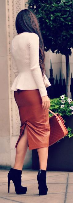 Camel Leather Pencil Skirt Chic Style women fashion outfit clothing style apparel @roressclothes closet ideas