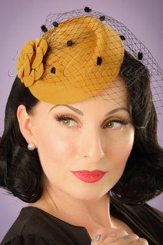 1950s Hats: 50s Marilyn Fascinator in Mustard