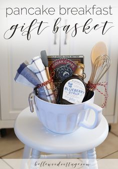 bridal shower gift idea - pancake breakfast gift basket - Bellewood Cottage basket ideas baskets festival ideas ideas for boyfriend wrapping for best friends for boyfriend for him Themed Gift Baskets, Wine Gift Baskets, Basket Gift, Kitchen Gift Baskets, Kitchen Gifts, Baking Gift Baskets, Gift Basket Themes, Summer Gift Baskets, Creative Gift Baskets