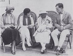 Constance, Natalie, Peg holding Little Joe and Buster