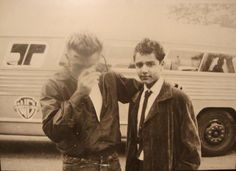 James Dean and Sal Mineo - love this as Jimmy's taking his glasses off for the picture and they took it too soon!  ♥