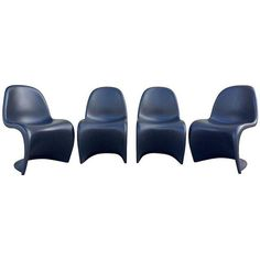 Image of Matte Black Signed Panton Chairs - Set of 4