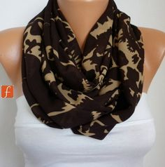Brown & Beige Infinity Chiffon Scarf ,Clothing gift, Circle Scarf Loop Scarf Gift for her,women fashion accessories http://etsy.me/2C4A9jh #accessories #scarf #brown #birthday #christmas #fatwomanscarf #women #infinity scarf #brown #beige