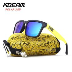 45e9a3dfa80 KDEAM Sport Sunglasses Men Square Polarized Sun Glasses Black Yellow frame  HD Blue lens UV400