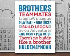 Brothers Wall Art Printable Boys Room Decor by fairplayprintables