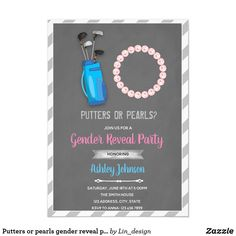 Shop Putters or pearls gender reveal party invitation created by Lin_design. Etsy Gender Reveal, Glitter Gender Reveal, Baby Gender Reveal Party, Gender Party, Invitation App, Online Invitations, Custom Invitations, Gender Reveal Party Invitations, Baby Shower Invitations