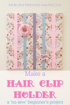 DIY hair bow holder on a canvas