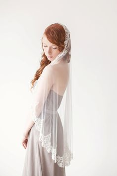 Wedding hair accessory Mantilla Bridal Veil by sibodesigns on Etsy