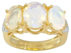 Stratify (Tm) 2.58ctw Oval Ethiopian Opal 18k Yellow Gold Over Sterling Silver Ring