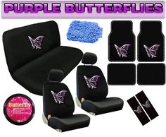 16pc PURPLE BUTTERFLY Auto Car Truck Interior Gift Set