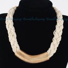 White Twisted Choker Necklace on Etsy, $16.00