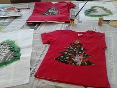 Christmas tshirts - my effort (trees using roller & freezer paint) yesterday and Miss 5 & Mr 2 did their bit today. Two days worth on the crafty advent calendar!