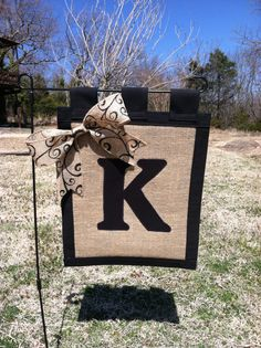 Personalized Burlap Scroll Garden Yard Flag Made by cornfieldfinds, $25.00