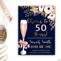 birthday invitation for women adult birthday invitations floral invitation cheers to 40 years 90th Birthday Invitations, 40th Birthday Parties, 80th Birthday, Birthday Ideas, Birthday Cheers, Free Birthday, Birthday Banners, Birthday Design, Birthday Nails