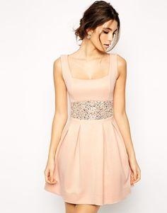 Scuba Debutante Dress With Embellished Waist