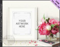 Set of 3 Scene | Styled White Table Interior | Flowers, Magazines | 8x10 White Portrait Landscape Frame Mockup Scene Creator | Empty wall