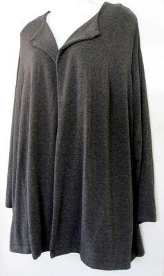 J. Jill Cardigan 3X Gray Cardigan Open Sweater Wearever Collection Womens Draped #JJill #Cardigan