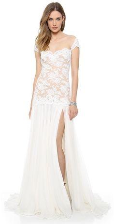shopbop.com Reem Acra Embroidered Lace Drop Waist Gown on shopstyle.com