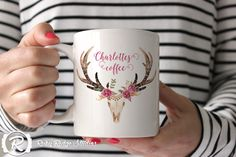 Personalised Name Coffee Mug, Tribal Deer Skull Watercolour Floral, Tea Cup, Ceramic Mug, Custom Name Mug, Personalised Gift, Under 50