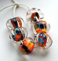 Sale lampwork beads ooak orphan bead set handmade lampwork beads boro beads zanzibar set of 6 rich color beads paulbead