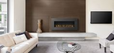 Hanging Fireplace, Fireplace Stores, Family Room Fireplace, Fireplace Wall, Fireplace Design, Direct Vent Gas Fireplace, Vented Gas Fireplace, Linear Fireplace, Modern Fireplace