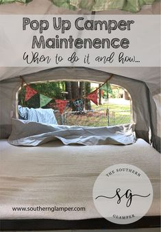 Annual RV Maintenance for Your Pop Up Camper - Camping Camper Hacks, Camper Trailers, Travel Trailers, Rv Travel, Tent Trailer Camping, Pop Up Tent Trailer, Rv Camping, Camping Storage, Camping Organization