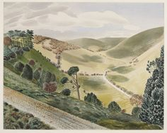 Eric Ravilious - The Causeway, Wiltshire Downs: