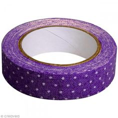 Fabric tape thermofixable - violet poids blancs - 15 mm x 5 m - Photo n°2