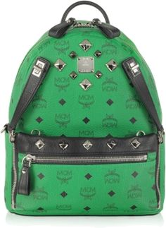 Dual Stark Backpack Small is handcrafted in MCM s signature Vestos motif in  Paradise Green packs double the style and function. f1e13f0524e