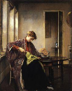 Girl mending  by Edmund Tarbell*