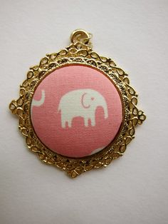 Pink elephant fabric button pendant by shinysandcastles on Etsy, $9.00