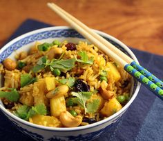 Thai pineapple fried rice, with curry, cashews and raisins.