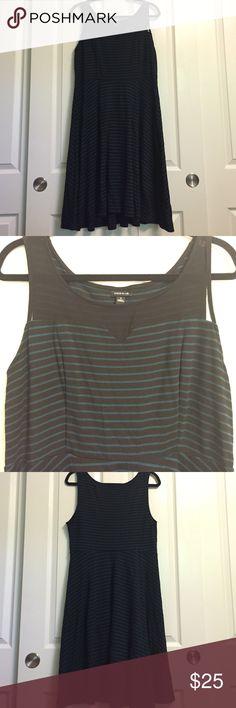 Torrid plus size dress Black and green striped dress, sheer neckline. Knee length or a bit longer torrid Dresses Midi
