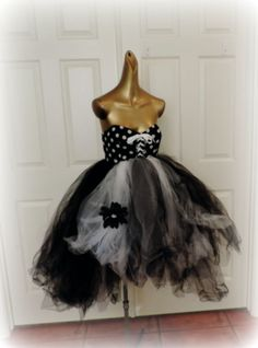 adult tutu dress polka dot tutu dress goth gothic tutu by TutuHot, $115.00