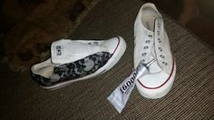 I had to keep washing my white converse so i just added some lace looks like a new pair : )