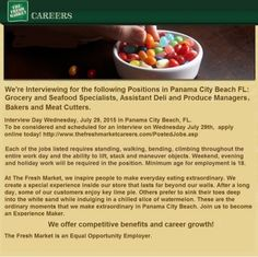 All Panama City Beach Grocery Market Store Jobs: http://www.thefreshmarketcareers.com/PostedJobs.asp  Panama City Beach FL. New Grocery Market Store Opening Career Event. Apply Online prior to event to schedule your job interview today! http://www.thefreshmarketcareers.com/PostedJobs.asp