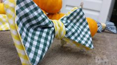 Don't you love this green and gold reversible gingham bow tie?