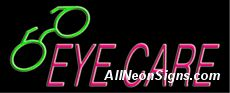 """Neon Sign - EYE CARE-10239-2398  13"""" Wide x 32"""" Tall x 3"""" Deep  110 volt U.L. 2161 transformers  Cool, Quiet, Energy Efficient  Hardware & chain are included  6' Power cord  For indoor use only  1 Year Warranty/electrical components  1 Year Warranty/standard transformers."""