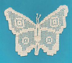 Reserved for Barbara - Butterflies - 3 Filet Crocheted Pieces