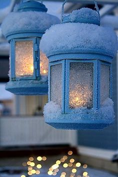 Beautiful Winter Wonderland Lighting Ideas For Outdoor And Indoor Decor 23 I Love Snow, I Love Winter, Winter Magic, Winter Scenery, Snow Scenes, Winter Beauty, Winter Pictures, Winter Solstice, Candle Lanterns
