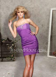 Abiballkleider - $107.99 - New Style Etui-Linie Schulterfrei Kurz/Mini Taft Abiballkleider mit Rüschen mit Perlen verziert (022004500) http://jenjenhouse.com/de/pinterest-g4500