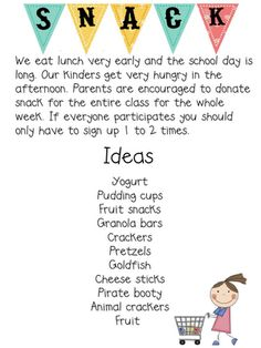 Letter To Parents About The Types Of Snack Students Are Aloud To