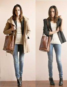 Gray Blazer + Tan Shirt + Skinny Jeans