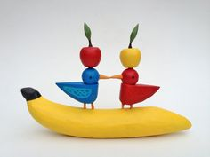 I'm bananas about you. bananas and apple acrobatics with lovebirds - wedding cake topper by Bunny with a Toolbelt
