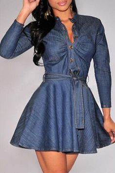 Cheap denim mini dresses, Buy Quality mini dress directly from China jeans dress Suppliers: 2017 Women Denim Mini Dress Slim Big Size Jeans Dress One-piece Dress S-XL With Belt For Women jeans dress Top Fashion, Beauty And Fashion, Dress Fashion, Ladies Fashion, Fashion Clothes, Trendy Fashion, Winter Fashion, Girls Denim Dress, Denim Shirt Dress