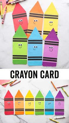 Crayon Template Card 🖍️- make these adorable crayon cards for back to school! These would also be cute on a bulletin board or for a teacher card. Free printable template on the post. Holiday Crafts For Kids, Fun Crafts For Kids, Craft Stick Crafts, Toddler Crafts, Paper Crafts, Handmade Teacher Gifts, Handmade Birthday Cards, Crayon Template, Science Activities For Kids