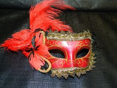 Halloween, Vintage Mardi Gras Mask, Carnival, Black, Red & Gold, Feathers, Halloween Costume Accessory, Masquerade Party, Bell of the Ball on Etsy, $85.00