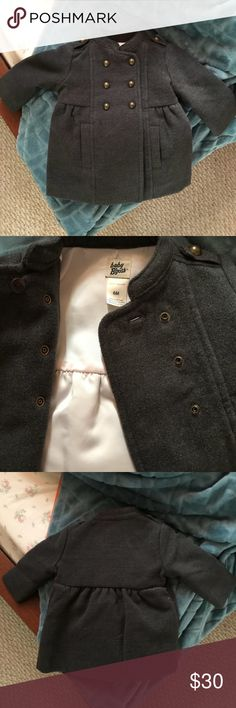 Baby Military Coat I HAD to have this for my baby. It is crazy cute. It's a fully lined Oshkosh B'gosh wool coat with heavy buttons and great detail. It is a dark grey color with burnished brass colored buttons. Perfect used condition. Baby never even spit on it. OshKosh B'gosh Jackets & Coats Pea Coats
